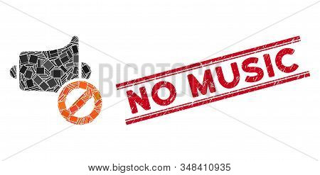 Mosaic Mute Pictogram And Red No Music Seal Stamp Between Double Parallel Lines. Flat Vector Mute Mo