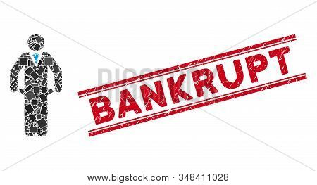 Mosaic Bankrupt Pictogram And Red Bankrupt Stamp Between Double Parallel Lines. Flat Vector Bankrupt