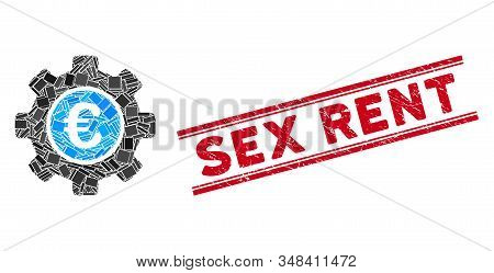 Mosaic Euro Development Gear Icon And Red Sex Rent Stamp Between Double Parallel Lines. Flat Vector