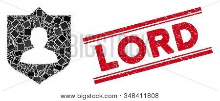 Mosaic Lord Shield Icon And Red Lord Stamp Between Double Parallel Lines. Flat Vector Lord Shield Mo