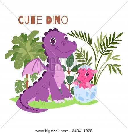 Cute Dino Family Of Brontosaurus Baby And Parent Vector Illustration. Dino Characters For Father S O