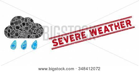 Mosaic Rain Cloud Icon And Red Severe Weather Watermark Between Double Parallel Lines. Flat Vector R
