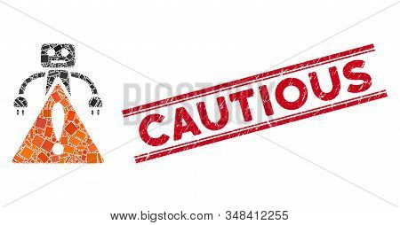 Mosaic Robot Warning Pictogram And Red Cautious Seal Between Double Parallel Lines. Flat Vector Robo