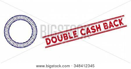 Mosaic Double Circle Frame Icon And Red Double Cash Back Seal Stamp Between Double Parallel Lines. F