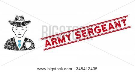 Mosaic Sheriff Pictogram And Red Army Sergeant Seal Stamp Between Double Parallel Lines. Flat Vector