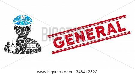 Mosaic Army General Pictogram And Red General Seal Between Double Parallel Lines. Flat Vector Army G