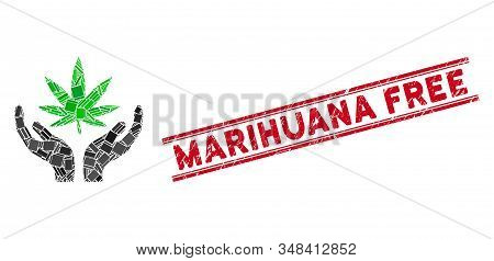 Mosaic Cannabis Care Pictogram And Red Marihuana Free Rubber Print Between Double Parallel Lines. Fl