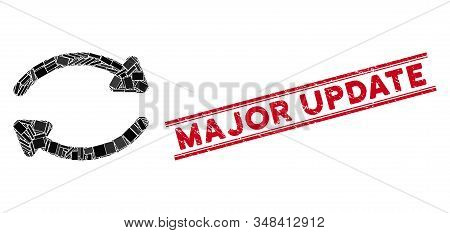 Mosaic Update Pictogram And Red Major Update Seal Stamp Between Double Parallel Lines. Flat Vector U