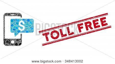 Mosaic Money Phone Sms Pictogram And Red Toll Free Stamp Between Double Parallel Lines. Flat Vector