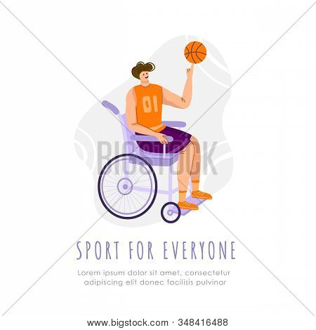 Disabled Basketball Player With Ball In Wheelchair On Playground, Young Muscular Man With Physical D