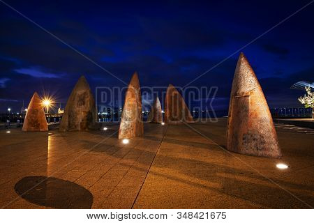 Geelong, Victoria, Australia - May 13, 2010: Geelong Waterfront Twilight, Featuring Concrete Fin Or