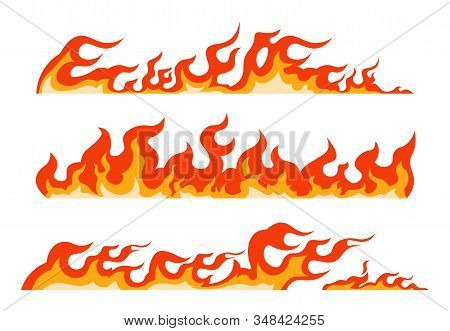 Orange Flame. Burning Fire Line, Framing Decorative Element And Blazing Border, Firewall Seamless Pa