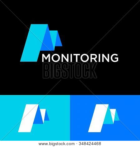 Monitoring Logo. Letter M Like Chart. M Letter Consist Of  Blue Bend Paper Ribbon, Isolated On A On
