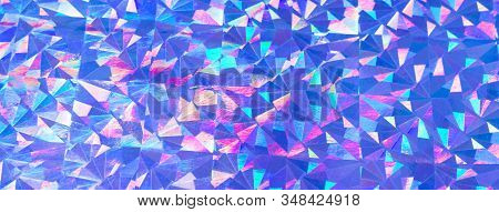 Holographic Colorful Purple Blue Lights Festive Background. Abstract Geometric Pattern Backdrop. Soc