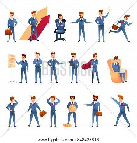 Entrepreneur Icons Set. Cartoon Set Of Entrepreneur Vector Icons For Web Design