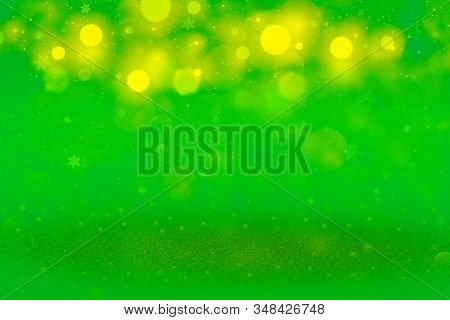 Pretty Bright Abstract Background Glitter Lights With Falling Snow Flakes Fly Defocused Bokeh - Cele