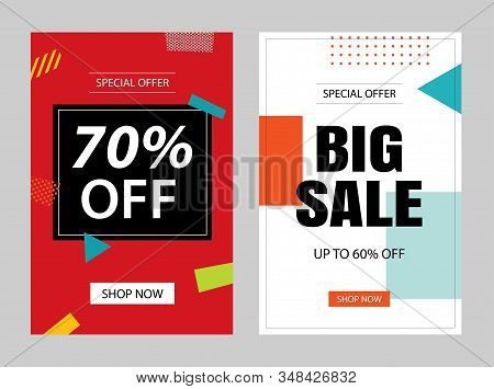 Set Of Sale Banner Templates. Vector Illustrations For Posters, Mobile Shopping, Email And Newslette