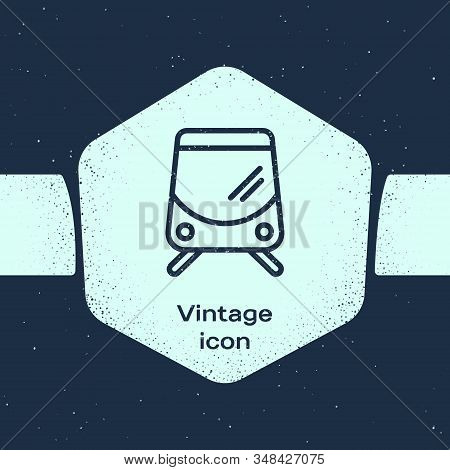 Grunge Line Tram And Railway Icon Isolated On Blue Background. Public Transportation Symbol. Monochr