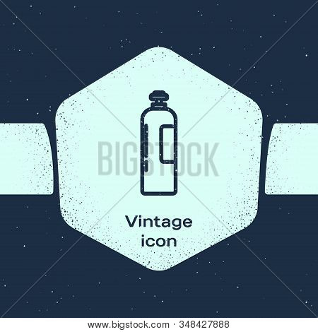 Grunge Line Industrial Gas Cylinder Tank For All Inert And Mixed Inert Gases Icon Isolated On Blue B