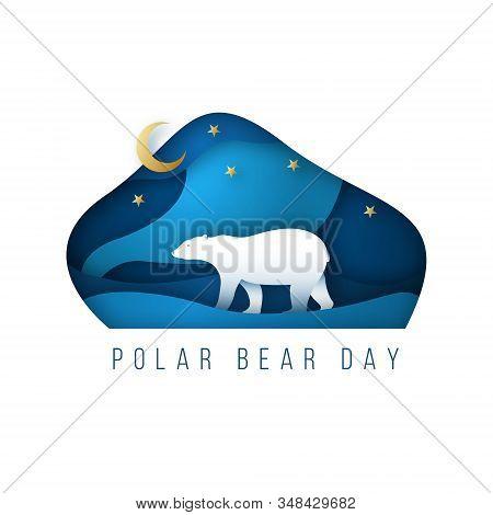 North Arctic Polar Bear In Paper Art Style. Polar Bear Walking At Night Along The North Pole. Polar
