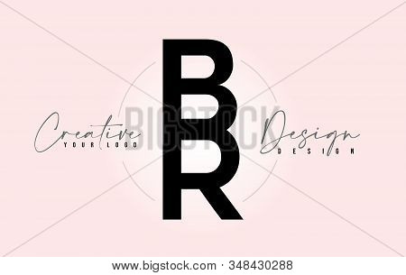 Br Letter Design Icon Logo With Letters One On Top Of Each Other Vector Illustration.