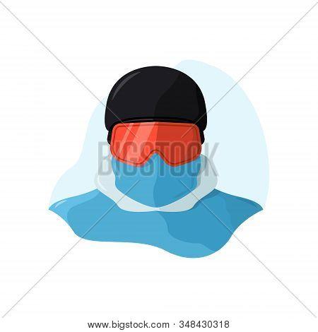 Snowboarder Wearing A Helmet And A Snowboard Mask. Vector Portrait Of A Skier Man. Winter Sport, Fla