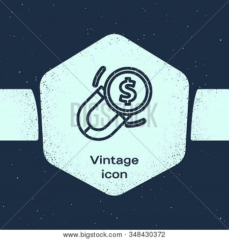 Grunge Line Magnet With Money Icon Isolated On Blue Background. Concept Of Attracting Investments. B