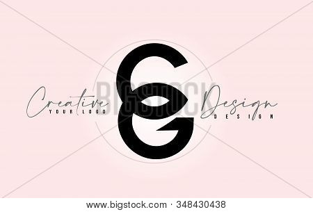 Cg Letter Design Icon Logo With Letters One On Top Of Each Other Vector Illustration.