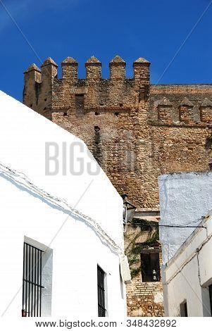 View Of Part Of The Castle Battlements, Arcos De La Frontera, Andalucia, Spain