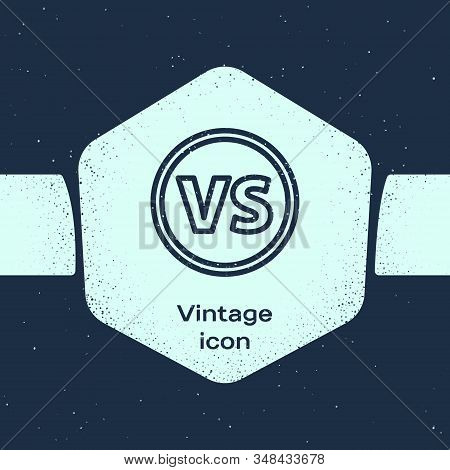 Grunge Line Vs Versus Battle Icon Isolated On Blue Background. Competition Vs Match Game, Martial Ba