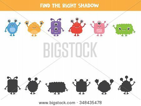 Find The Right Shadow Of Each Monster. Set Of Cute Mutants.