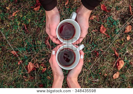 Two White Cups Mugs With Hot Tea In Hand Touch Each Other On A Background Of Grass And Fallen Leaves