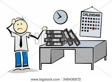 Stressed And Overworked Employee With Large Piles Of Paperwork On Desk Working Overtime To Meet A De