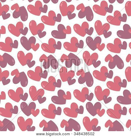 Pairs Of Pink Hearts On White Background. Seamless Vector Pastel Pattern Design For T-shirt, Bedclot