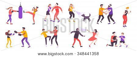 Self Defense Flat Set Of Isolated Doodle Human Characters Struggling With Various Threats On Blank B