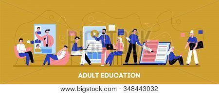 Online Adult Education Flat Horizontal Background Banner With Individual Audio Video Training Level