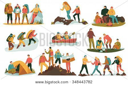 Mountain Climbing Trekking Hiking Flat Compositions Set With Overnight Halt Camping Tent Bonfire Coo