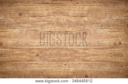 Wood Texture Background. Top View Of Vintage Wooden Table With Cracks. Light Brown Surface Of Old Kn