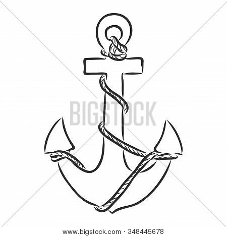 Ancient Naval Anchor From The Ship. Vector Sketch Illustration