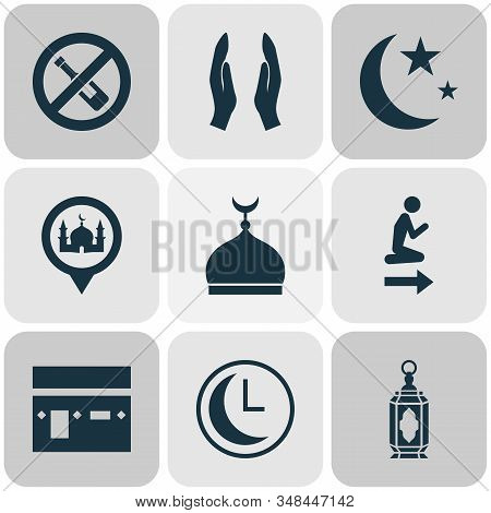 Religion Icons Set With Dua, Kaaba, Clock And Other Worship Elements. Isolated Vector Illustration R