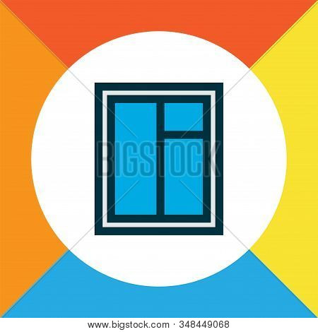 Window Icon Colored Line Symbol. Premium Quality Isolated Casement Element In Trendy Style.