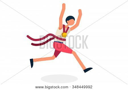 Male Person Celebrate Xxxii Summer Games, Athletics Gold Medal. Sportive People Celebrating, Athlete