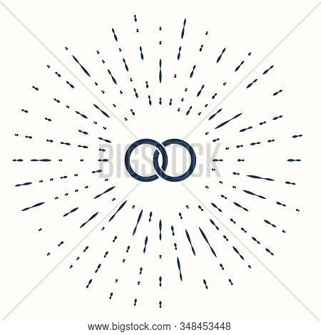 Grey Wedding Rings Icon Isolated On Beige Background. Bride And Groom Jewelery Sign. Marriage Icon.