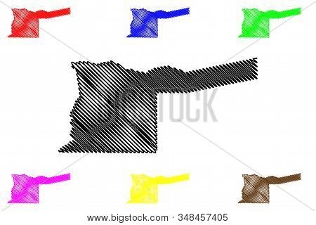 Kavango East Region (regions Of Namibia, Republic Of Namibia) Map Vector Illustration, Scribble Sket