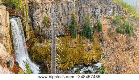 Panoramic View Of The 97-foot Tumalo Falls In Tumalo Creek Near Bend, Oregon, Usa