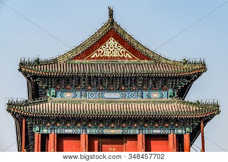 China, Beijing, Forbidden City Different Design Elements Of The Colorful Buildings Of The Imperial P