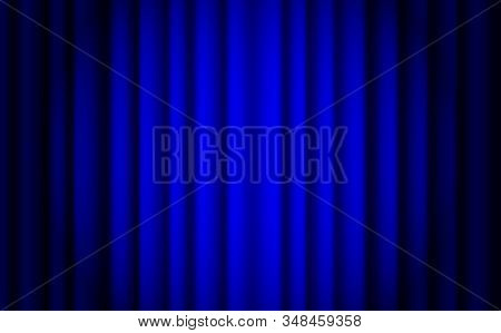 Blue Stage Curtain Realistic Vector. Closed Silky Luxury Blue Curtain Stage Background Spotlight. Bl