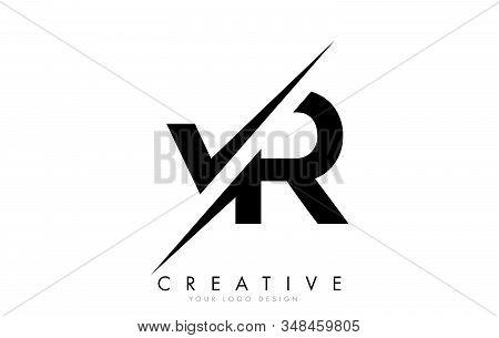 Vr V R Letter Logo Design With A Creative Cut. Creative Logo Design..