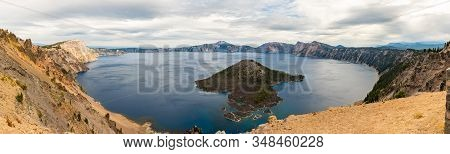 Panoramic View Of Wizar Island From The Watchman Lookout Point In Crater Lake, Oregon, Usa