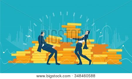 Two Business Man Bringing Money To The Bank Storage. Business People Caring  Golden Coins As Symbol